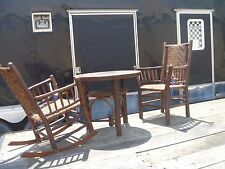 Signed Old Hickory Cane Rocking, Arm Chair & Table SET Martinsville IN 1930's