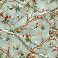 THE CARDINAL RULE SNOW SNOWFLAKES HOLLY BERRIES PINE CONES CHRISTMAS FABRIC