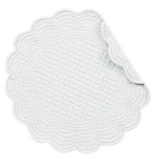 "Set of 4 PCS Quilted,17"" Round Placemats, White,862601549W"