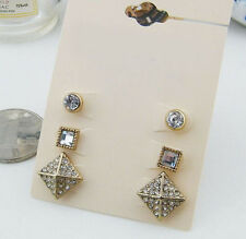 3 pairs/Set Exquisite Pyramid Rivets Geometric Crystal Lady Stud Club Earrings