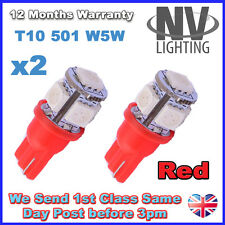 2 x 5 RED SMD LED 501 T10 W5W Interior / Side Light bulbs - SUPER BRIGHT