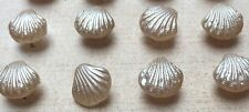 Vintage 11m  Austrian  Glass  Sea Shell Shape Buttons - 24 on original card