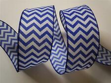 "5yd 2.5"" Royal Blue Chevron Burlap Wired Ribbon Wedding Shower Wreath Gifts"