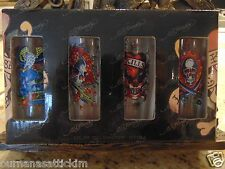 Ed Hardy by Christian Audigier Set 4 Tall Shot Glass Skull Design NIB