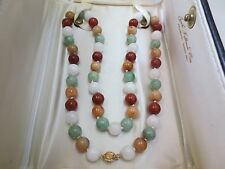 """Vintage 14k Yellow Gold Clasp 9.25 mm Multi-color Jade Beaded Necklace 22.5"""""""