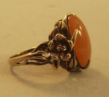10k Yellow Gold Flower Ring w Orange Stone Size 8 Amber? Copal?