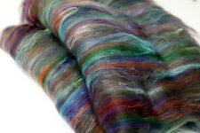 Carded Batt Merino & Silk Tropical Punch Fine Merino Wool Spinning Felting 100g