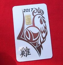 2 gram GOLD TGR BULLION Year of the 2017 ROOSTER Gold Bar (In Assay) LTD ! RED