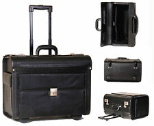 Laptop Pilot Case on Wheels Leather Look Cabin Trolley Bag Black HOL2139