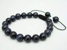 Men's Shamballa bracelet all 10mm  BLUE GOLDSTONE stone beads