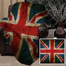 GRUNGE 2 UNION JACK DESIGN SOFT FLEECE BLANKET COVER THROW BLANKET L&S PRINTS