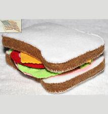 felt food play toys 1 SANDWICH BREAD BOLOGNA CHEESE LETTUCE TOMATO child pretend