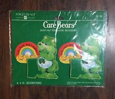 """NEW Vtg 1980's Care Bears """"Good Luck Bear"""" (4) Punch-out Honeycomb Decorations"""