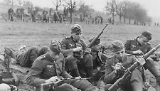 WWII B&W Photo German Wehrmacht Soliders Cleaning Mauser 98k Rifles  WW2 / 2350