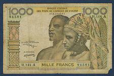 COTE D'IVOIRE - 1000 FRANCS Pick n° 103AK. de 1959-1964. en B   H.144 A 94581