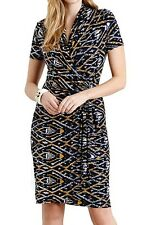 Karen Kane Navy Graphic Diamond Cascade Stretch Jersey Wrap Dress, XS -  $128