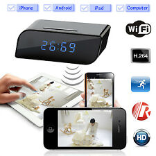 Wireless Wifi IP 720P HD Clock Spy Hidden Camera IR Security Network Web Cam DVR