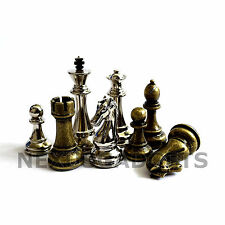 Jenell Chess Pieces 4.5 In King BRONZE / SILVER METAL Set Weighted NO BOARD New