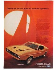 1972 Ford Mustang Mach I Advertisement Color AD Yellow Car Sailboat Motion