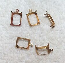 VINTAGE 8MM X 10MM BRASS SETTINGS MOUNTINGS WITH RING 16 PCS