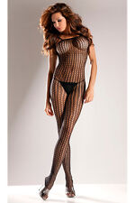 Sexy Black Seamless Open Crotch Bodystocking Lingerie!