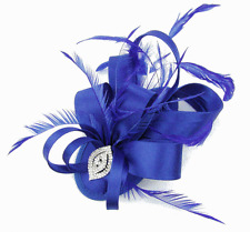Bright Blue Wide Satin Bow Shaped Feather Hair Fascinator tear drop base - Clip