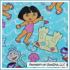 BonEful Fabric FQ Cotton Dora Boots Beach Monkey Sand Castle Girl Princess Water