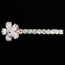 USA BARRETTE using Swarovski Crystal Hairpin Bridal Wedding Gold Flower CZ 03