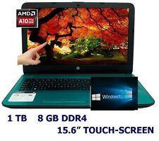 "NEW HP 15.6"" HD Touch-Screen Laptop BUNDLE; Windows 10, WiFi-n, DVD-RW  TEAL"