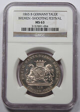 Germany Bremen 1865 B Thaler Taler Silver Coin NGC MS63 Shooting Festerval KM248