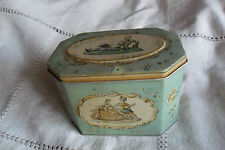 VINTAGE HUNTLEY & PALMERS BISCUITS TIN, LADY + GENTLEMEN SOCIETY SCENES