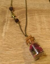 Rose petal necklace jar vial bottle flower bronze chain boho hedgewitch nature