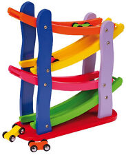 New Wooden Toys Click Clack Racetrack, Car Run, Marble Run, Track Run