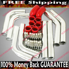 """3"""" UNIVERSAL Intercooler Piping+Clamp+RED Hoses fits Toyota Honda Acura"""