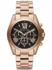 NEW MICHAEL KORS MK5854 LADIES ROSE GOLD, BLACK DIAL BRADSHAW WATCH