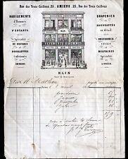 """AMIENS (80) DRAPERIE CONFECTION MODE / HOMMES & ENFANTS """"BLIN"""" illustrée en 1868"""
