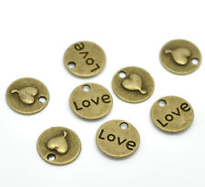 10 Antique Bronze Tone Metal Love and Heart Circle Charm Pendants 15mm. Chb0055