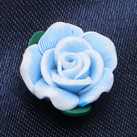 30pcs Nice Wiredrawing Azure FIMO Polymer Clay Flower Charms Beads Fit Jewelry C