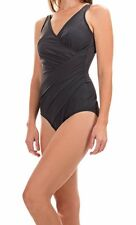 NWT New MIRACLESUIT Oceanus Tank One Piece Swimsuit Charcoal Gray Size 18