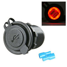 12-24V 2USB Car Red LED Angel Eye Charging Socket Power Adapter Outlet Universal