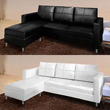 Divano angolare moderno ecopelle con pouf sofa soggiorno bianco nero 3 posti C