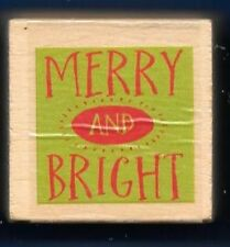 MERRY AND BRIGHT word Swirl Stencil Holiday Gift Tag NEW wood mount RUBBER STAMP