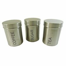 3 PIECE TEA COFFEE SUGAR STAINLESS STEEL CANISTER SET 12.5 X 9 X 9CM
