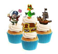 Novelty Pirate Mix 12 Edible Stand Up wafer paper cake toppers birthday