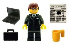 LEGO Office Geek Business Man Minifig with Laptop Breifcase Cup & News Tile NEW