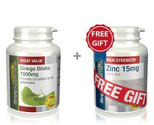 Simply Supplements Ginkgo Biloba 1500mg 360 Tabs + FREE GIFT Zinc 15mg 60 Tabs