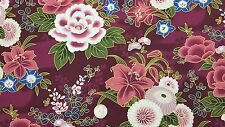 Kona Bay Asian Fabric 2004 Metallic YURI-03 Burgundy BTY Floral red COTTON BLUE