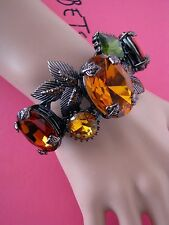 BETSEY JOHNSON ICONIC AUTUMN CRYSTAL GEM BANGLE STATEMENT BRACELET~NWT~RARE