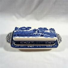 Copeland Spode Tower England OLD Mark Blue ¼ LB Butter Dish w/Lid RARE