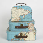 Set of 3 Vintage Map Suitcases Bedroom Storage by Sass & Belle